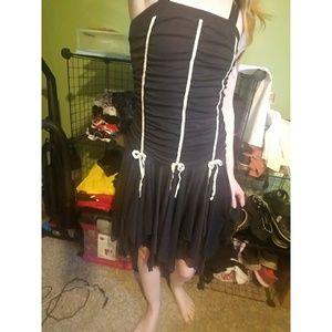 Black Sheer Bouncy Dress w/ Ribbon Bows